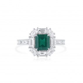 Natural Vivid Green Colombia Emerald Ring, 1.19 Ct. (2.48 Ct. TW), GRS Certified, GRS2021-038578
