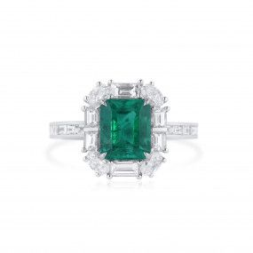 Natural Vivid Green Colombia Emerald Ring, 1.83 Ct. (3.06 Ct. TW), GRS Certified, GRS2021-038573