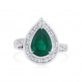 Natural Vivid Green Colombia Emerald Ring, 2.06 Ct. (3.14 Ct. TW), GRS Certified, GRS2021-038572