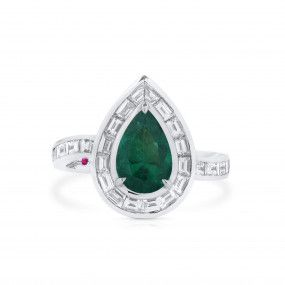 Natural Vivid Green Colombia Emerald Ring, 1.45 Ct. (2.48 Ct. TW), GRS Certified, GRS2021-038574