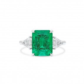 Natural Vivid Green Colombia Emerald Ring, 3.38 Ct. (4.01 Ct. TW), GRS Certified, JCRG08089076