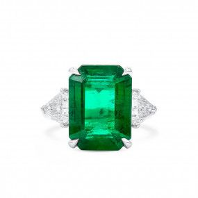 Natural Vivid Green Emerald Ring, 7.70 Ct. (9.06 Ct. TW), GRS Certified, JCRG08089106