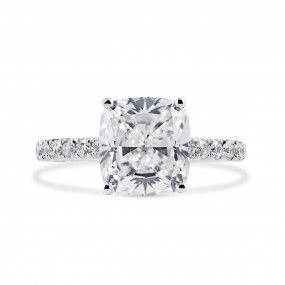 White Diamond Ring, 4.01 Ct. (4.35 Ct. TW), Cushion shape, GIA Certified, 2195185432