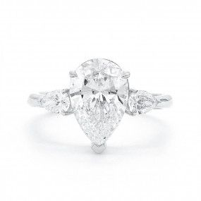 White Diamond Ring, 3.00 Ct. (3.38 Ct. TW), Pear shape, GIA Certified, 2151413170