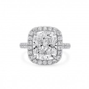 White Diamond Ring, 5.68 Ct. (6.60 Ct. TW), Cushion shape, GIA Certified, 2195625911