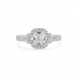White Diamond Ring, 1.03 Ct. (1.43 Ct. TW), Cushion shape, GIA Certified, 1299095862
