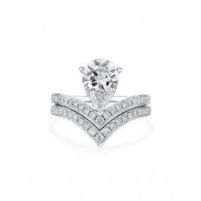 White Diamond Ring, 2.01 Ct. (2.42 Ct. TW), Pear shape, GIA Certified, 3325032391