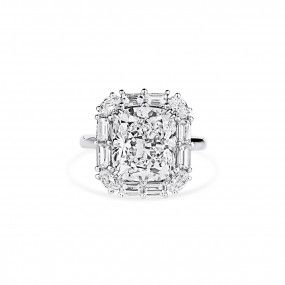 White Diamond Ring, 5.68 Ct. (7.12 Ct. TW), Cushion shape, GIA Certified, 2195625911