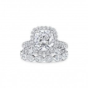White Diamond Ring, 3.01 Ct. (4.88 Ct. TW), Cushion shape, GIA Certified, 6255057743