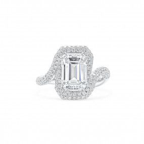White Diamond Ring, 3.02 Ct. (4.03 Ct. TW), Emerald shape, GIA Certified, 150068888