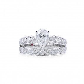 White Diamond Ring, 1.01 Ct. (2.13 Ct. TW), Pear shape, GIA Certified, 7316184906