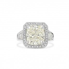 White Diamond Ring, 6.02 Ct. (7.46 Ct. TW), Cushion shape, GIA Certified, 2203258479