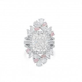 White Diamond Ring, 7.06 Ct. (7.80 Ct. TW), Cushion shape, GIA Certified, 6355310094