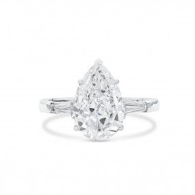 White Diamond Ring, 3.01 Ct. (3.40 Ct. TW), Pear shape, GIA Certified, 7328870895