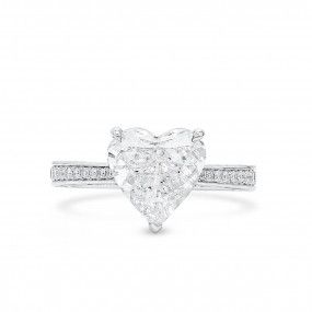 White Diamond Ring, 3.01 Ct. (3.79 Ct. TW), Heart shape, GIA Certified, 2151531795
