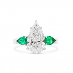 White Diamond Ring, 3.09 Ct. (3.65 Ct. TW), Pear shape, GIA Certified, 7378680198