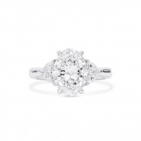 White Diamond Ring, 3.03 Ct. (3.45 Ct. TW), Oval shape, GIA Certified, 2357446646