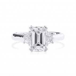 White Diamond Ring, 2.01 Ct. (2.32 Ct. TW), Emerald shape, GIA Certified, 7381781729