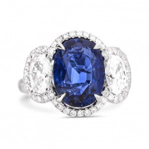 Natural Vivid Blue Burma Sapphire Ring, 6.23 Carat, GRS Certified, GRS2017-022146, Unheated