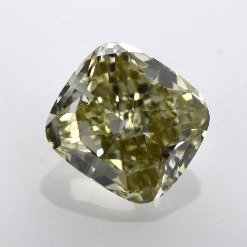 2.03 Carat, Fancy Grayish Yellowish Green Diamond, Cushion shape, VS2 Clarity, GIA Certified, 1169854401