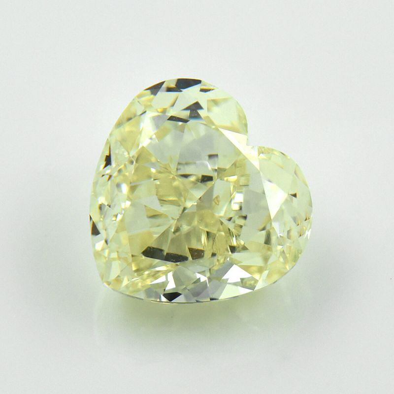 3.01 Carat, Light Yellow (U-V) Diamond, Heart shape, VS2 Clarity, GIA Certified, 7276633780