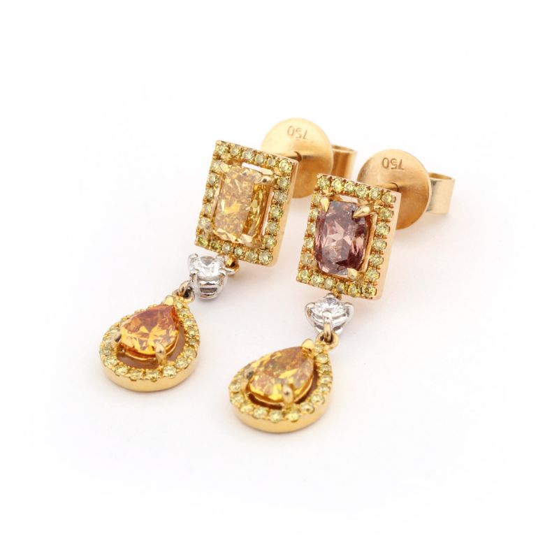Fancy Pink & Yellow Tear Drop Diamond Earrings, 1.64 Ct. TW, Radiant shape, GIA Certified, JAEF05130504