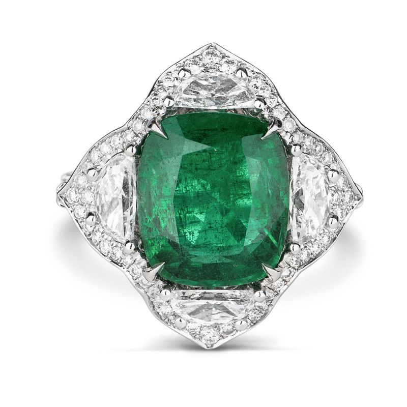 Natural Vivid Green Zambia Emerald Ring, 6.08 Carat, GRS Certified, GRS2016-052130, Unheated