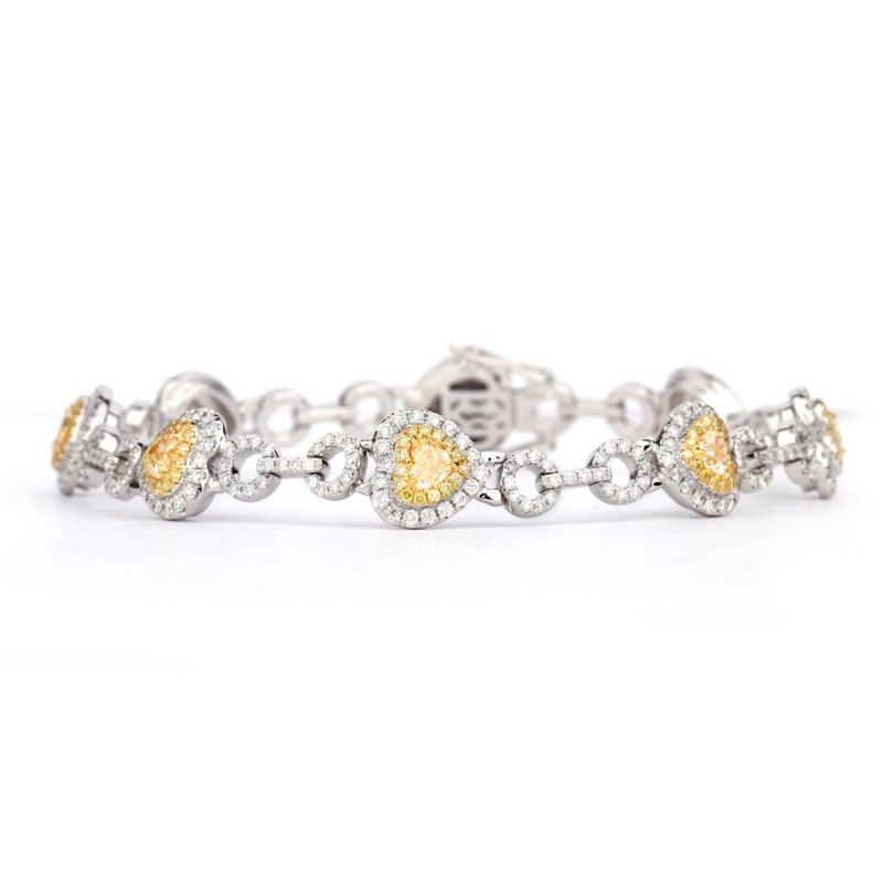 Fancy Yellow Diamond Bracelet, 4.16 Ct. TW, Heart shape, EG_Lab Certified, J5726116735