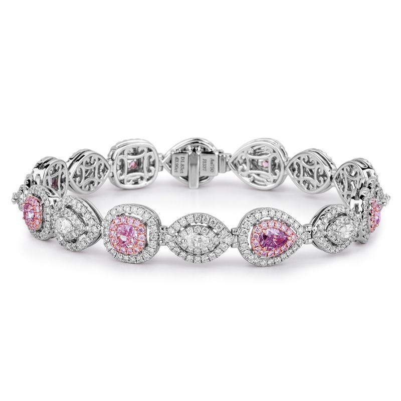 Fancy Purple Pink Diamond Bracelet, 1.83 Ct. (5.73 Ct. TW), Radiant shape, GIA Certified, JCBF05356553