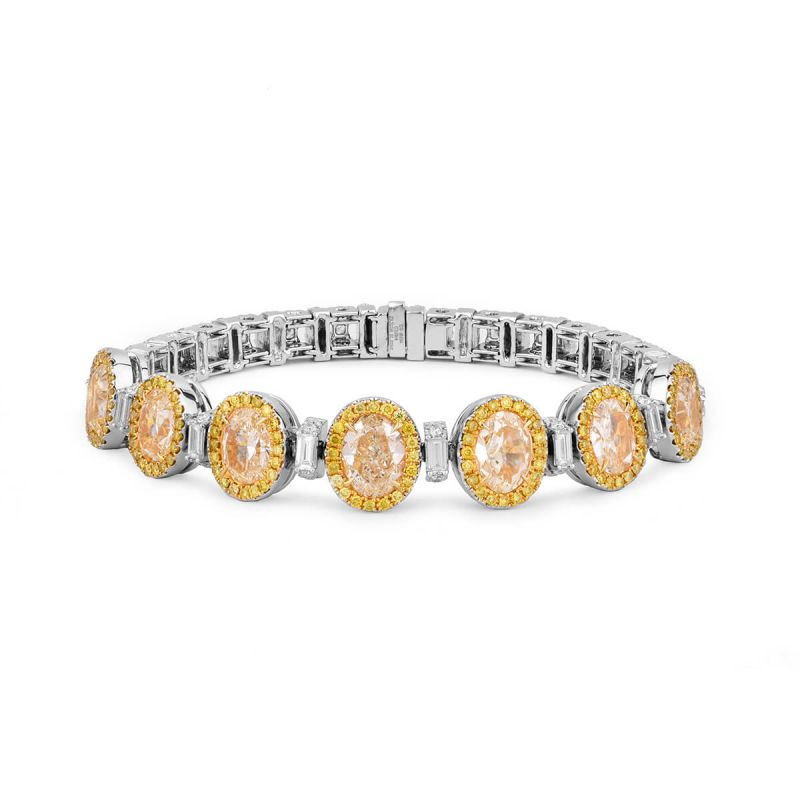 Fancy Yellow Diamond Bracelet, 11.40 Ct. TW, Oval shape