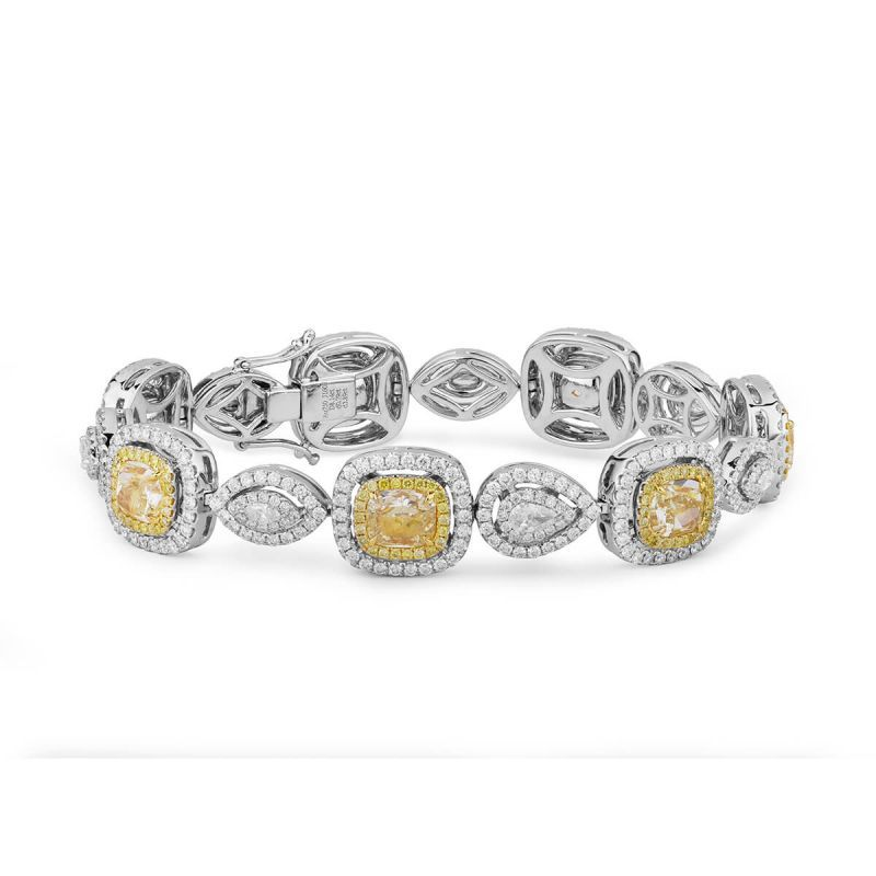 Light Yellow Diamond Bracelet, 11.80 Ct. TW, Cushion shape, GIA Certified, JCBF05391340