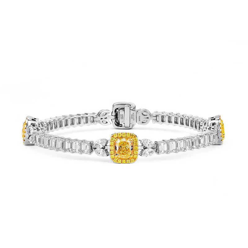 Fancy Yellow Diamond Bracelet, 4.82 Ct. (15.38 Ct. TW), Cushion shape, GIA Certified, JCBF05403665