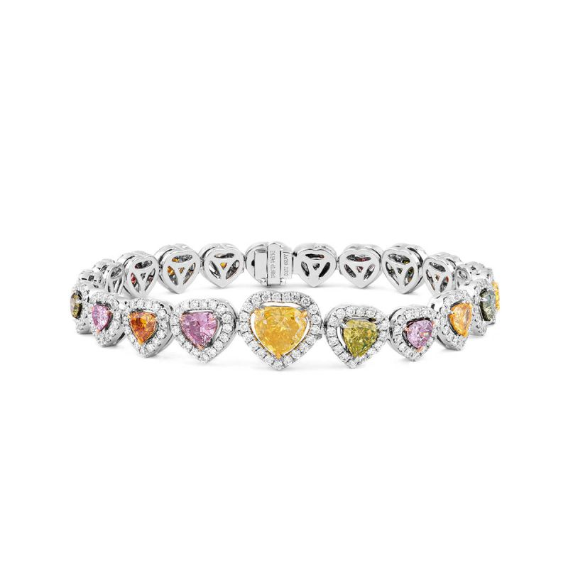 Fancy Brown Pink Diamond Bracelet, 5.19 Ct. (7.78 Ct. TW), Heart shape, GIA Certified, JCBF05409383