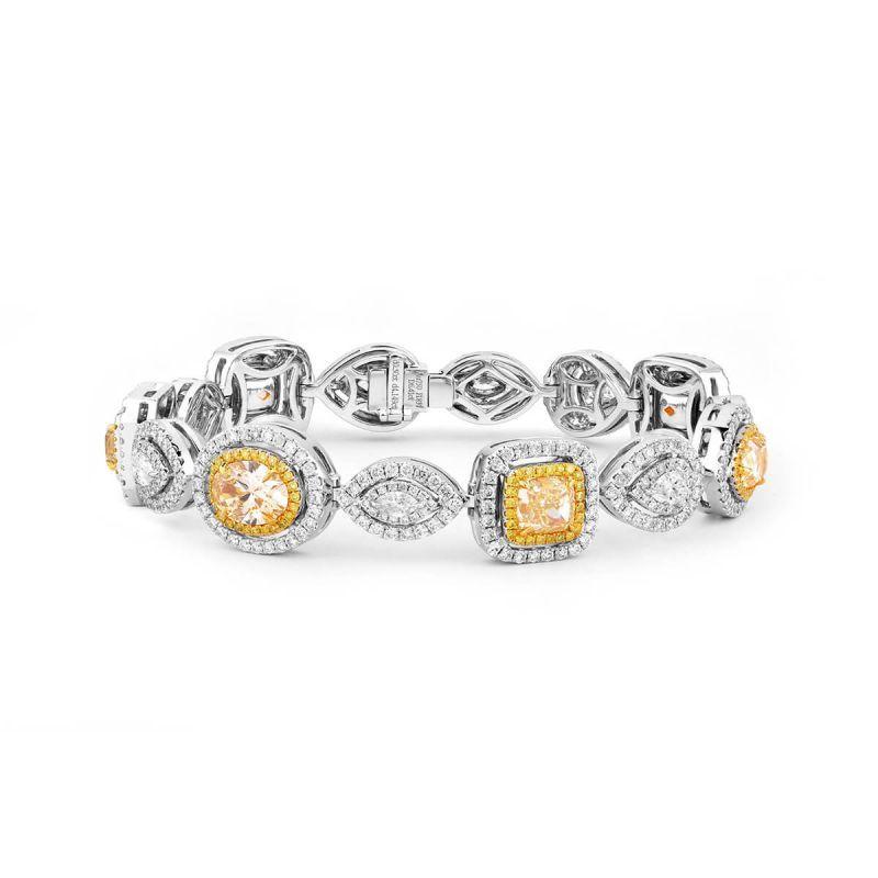 Fancy Light Yellow Diamond Bracelet, 6.41 Ct. (11.07 Ct. TW), Radiant shape, EG_Lab Certified, J5926075034