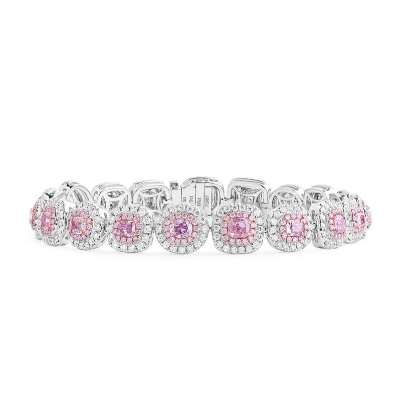 Faint Pink Diamond Bracelet, 3.79 Ct. (6.84 Ct. TW), Mix shape, GIA Certified, JCBF05438253
