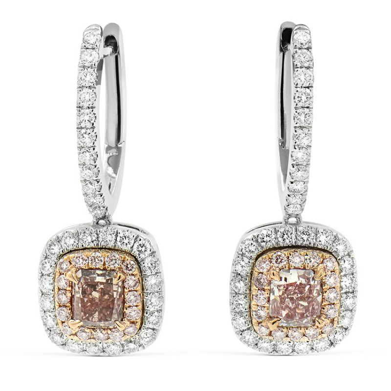 Fancy Brownish Purplish Pink Diamond Earrings, 0.61 Ct. (1.20 Ct. TW), Radiant shape, GIA Certified, JCEF05303055