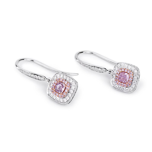 Fancy Brownish Purplish Pink Diamond Earrings, 0.98 Carat, Cushion shape, GIA Certified, 2183237179