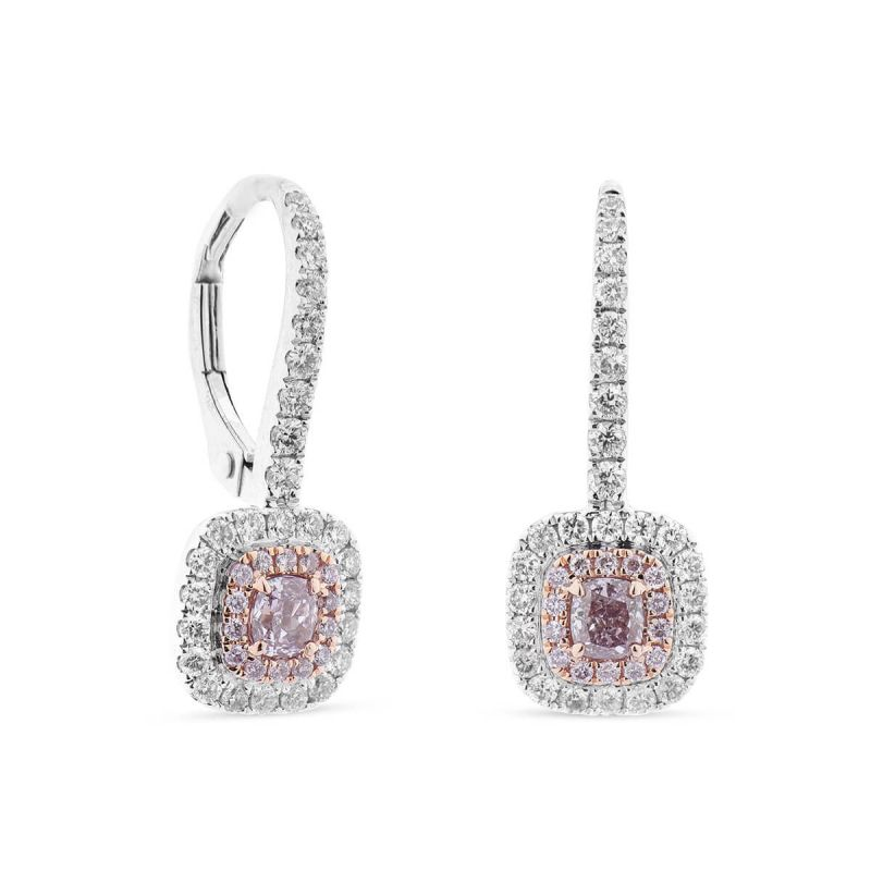 Fancy Brownish Purplish Pink Diamond Earrings, 0.59 Ct. (1.15 Ct. TW), Radiant shape, GIA Certified, JCEF05337237
