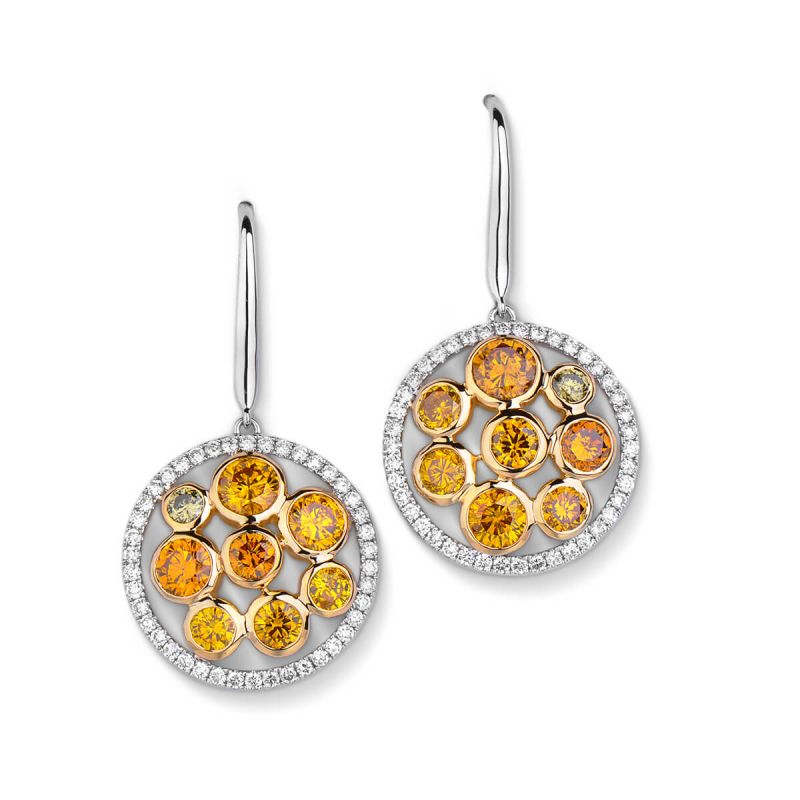 Fancy Yellow Diamond Earrings, 3.29 Ct. (4.03 Ct. TW), Round shape, EG_Lab Certified, J5826061735