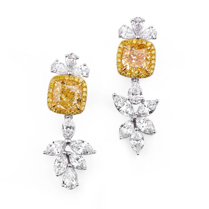Fancy Light Yellow Diamond Earrings, 4.02 Ct. (7.64 Ct. TW), Cushion shape, GIA Certified, JCEF05344694