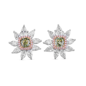 Light Green Diamond Earrings, 3.69 Ct. TW, Radiant shape, GIA Certified, JCEF05348421