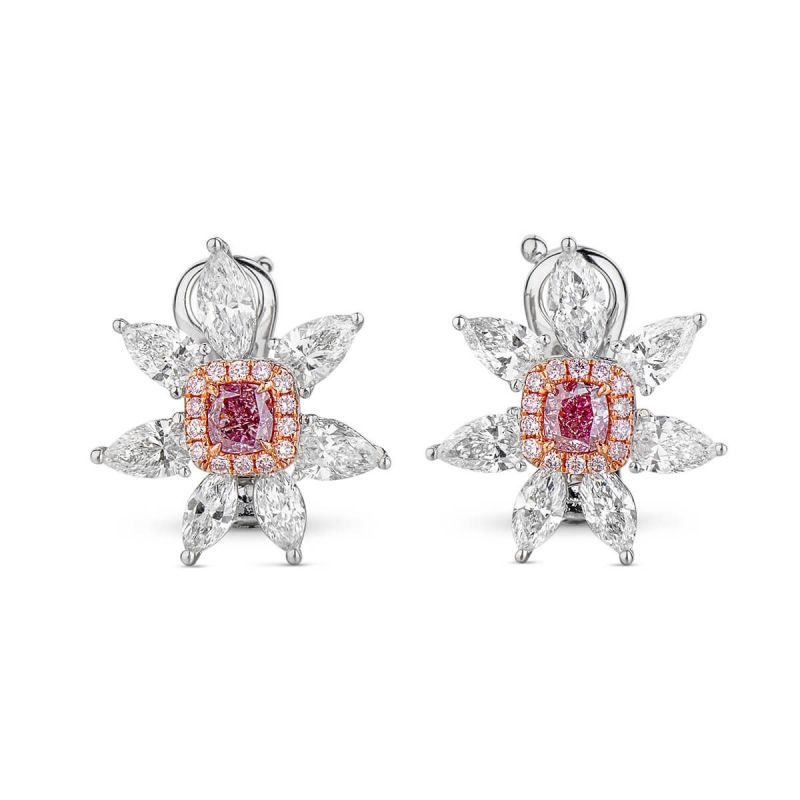 Fancy Purplish Pink Diamond Earrings, 0.37 Ct. (2.20 Ct. TW), Cushion shape, GIA Certified, JCEF05348426