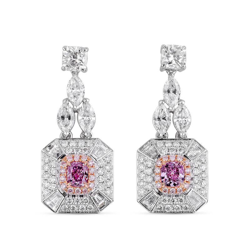 Fancy Intense Pink Purple Diamond Earrings, 2.87 Ct. TW, Cushion shape, GIA Certified, JCEF05358101