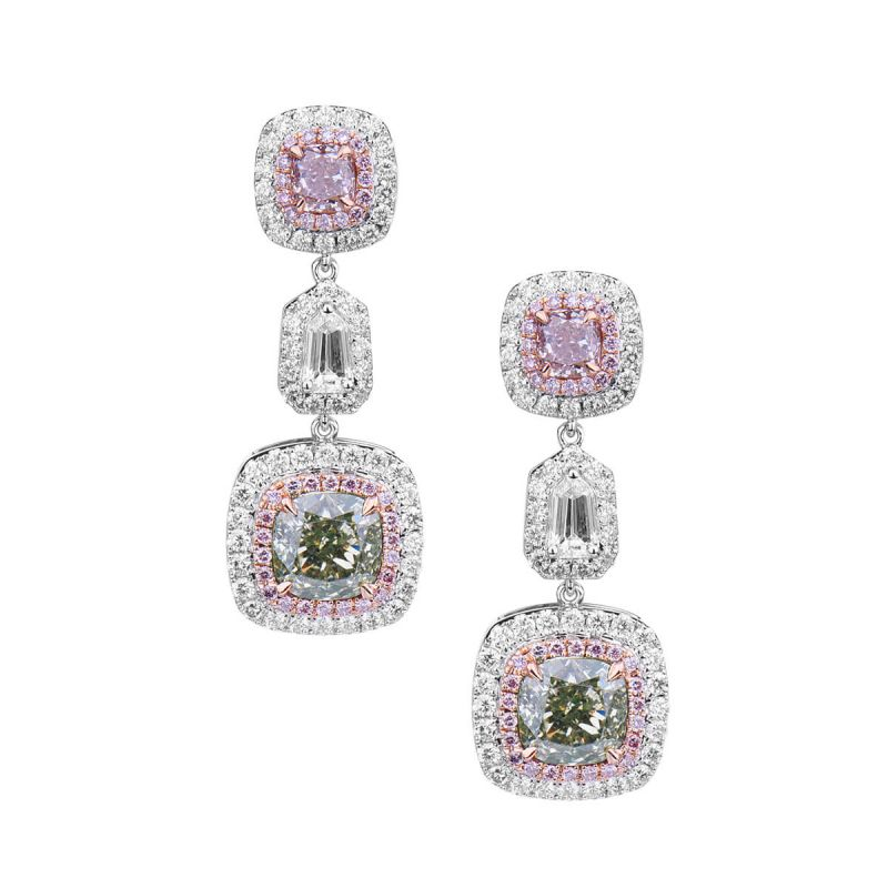 Fancy Green & Pink Diamond Earrings,4.48 Ct. TW, Cushion shape, GIA Certified, JCEF05360312