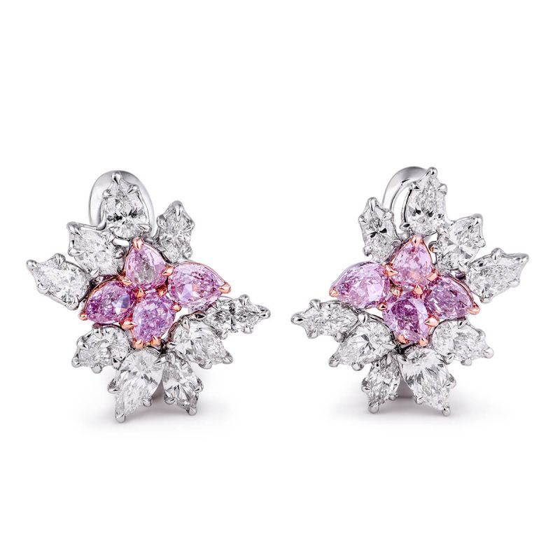 Fancy Pink Diamond Earrings, 2.20 Ct. TW, Pear shape