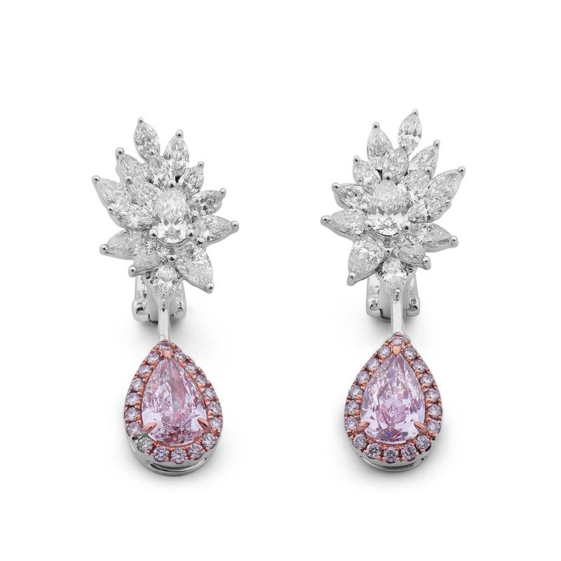 Faint Pink Diamond Earrings, 3.32 Ct. TW, Pear shape, GIA Certified, JCEF05385722