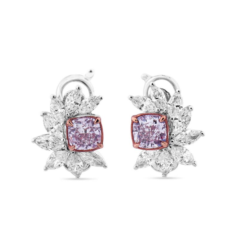 Faint Pink Diamond Earrings, 2.43 Ct. TW, Cushion shape, GIA Certified, JCEF05385820