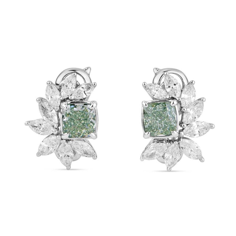 Fancy Yellow Green Diamond Earrings, 3.12 Ct. TW, Cushion shape, GIA Certified, JCEF05387532