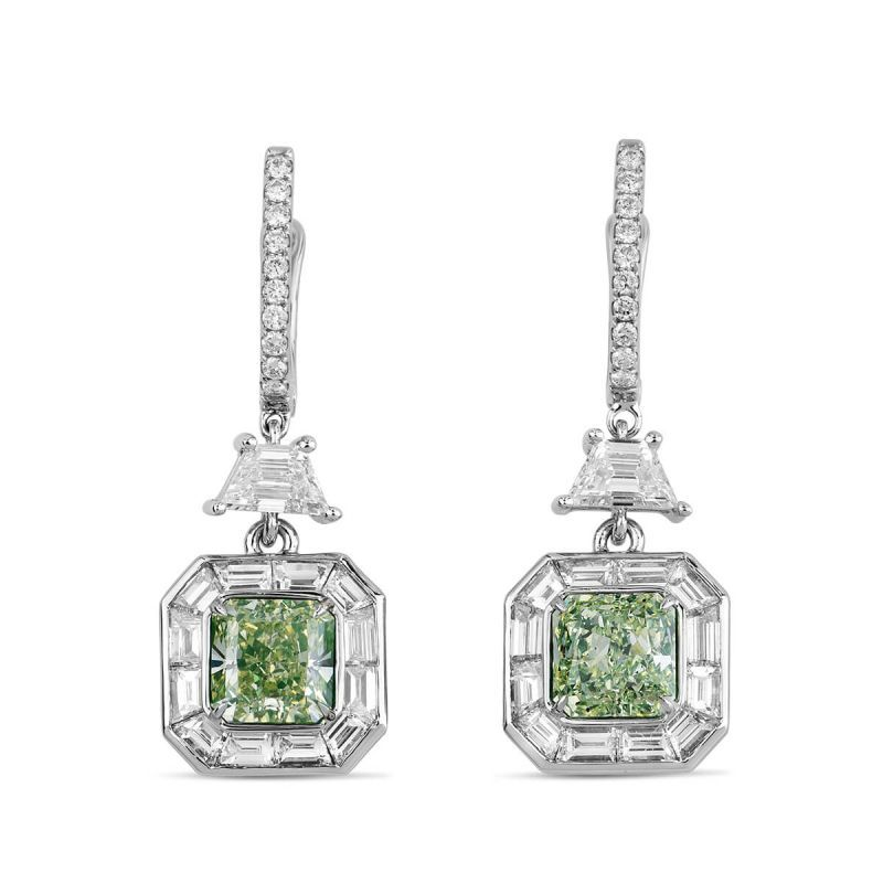 Fancy Light Green Yellow Diamond Earrings, 4.32 Ct. TW, Radiant shape, GIA Certified, JCEF05388677