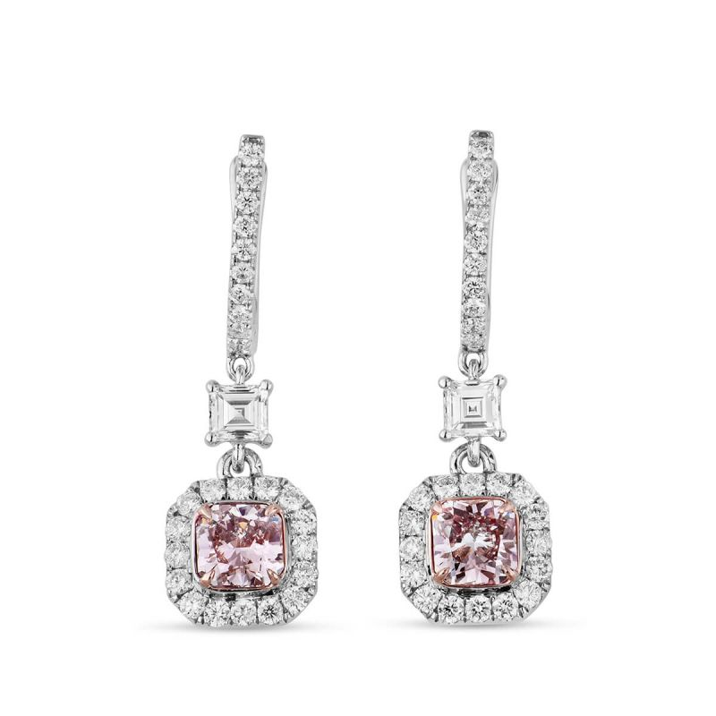 Faint Pink Diamond Earrings, 1.63 Ct. TW, Radiant shape, GIA Certified, JCEF05389896